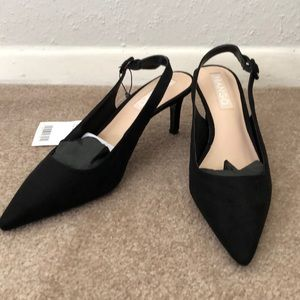 Mango Black Sling Back Suede Pointed Kitten Heels